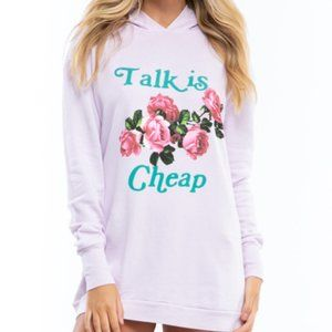 WILDFOX Talk Is Cheap Floral Rose Hoodie Sweater